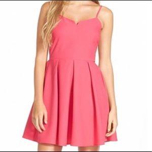 Everly Pink Spaghetti Strap Skarter Dress